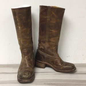 Frye Brown Distressed Leather Pull On Boot 6.5